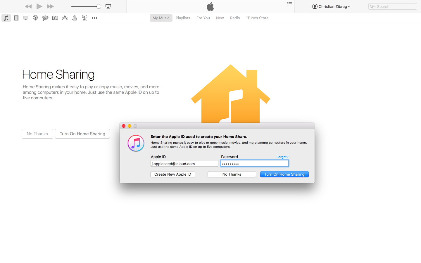 itunes windows 10 home sharing