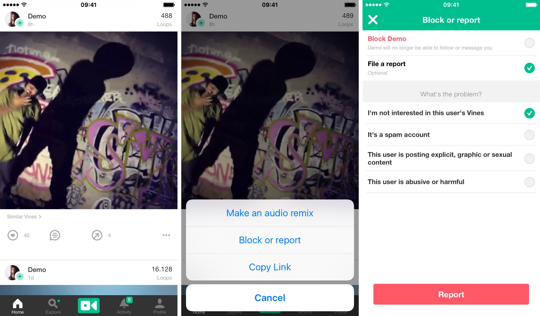 How to block or report Vine iPhone screenshot 002