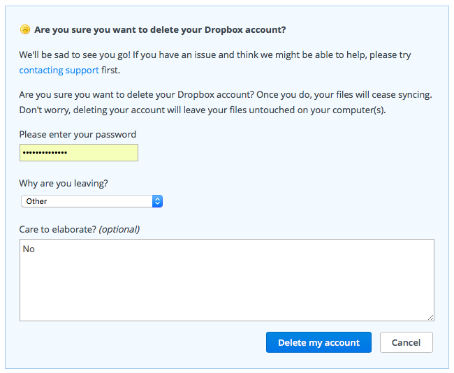 How to delete Dropbox account web screenshot 001