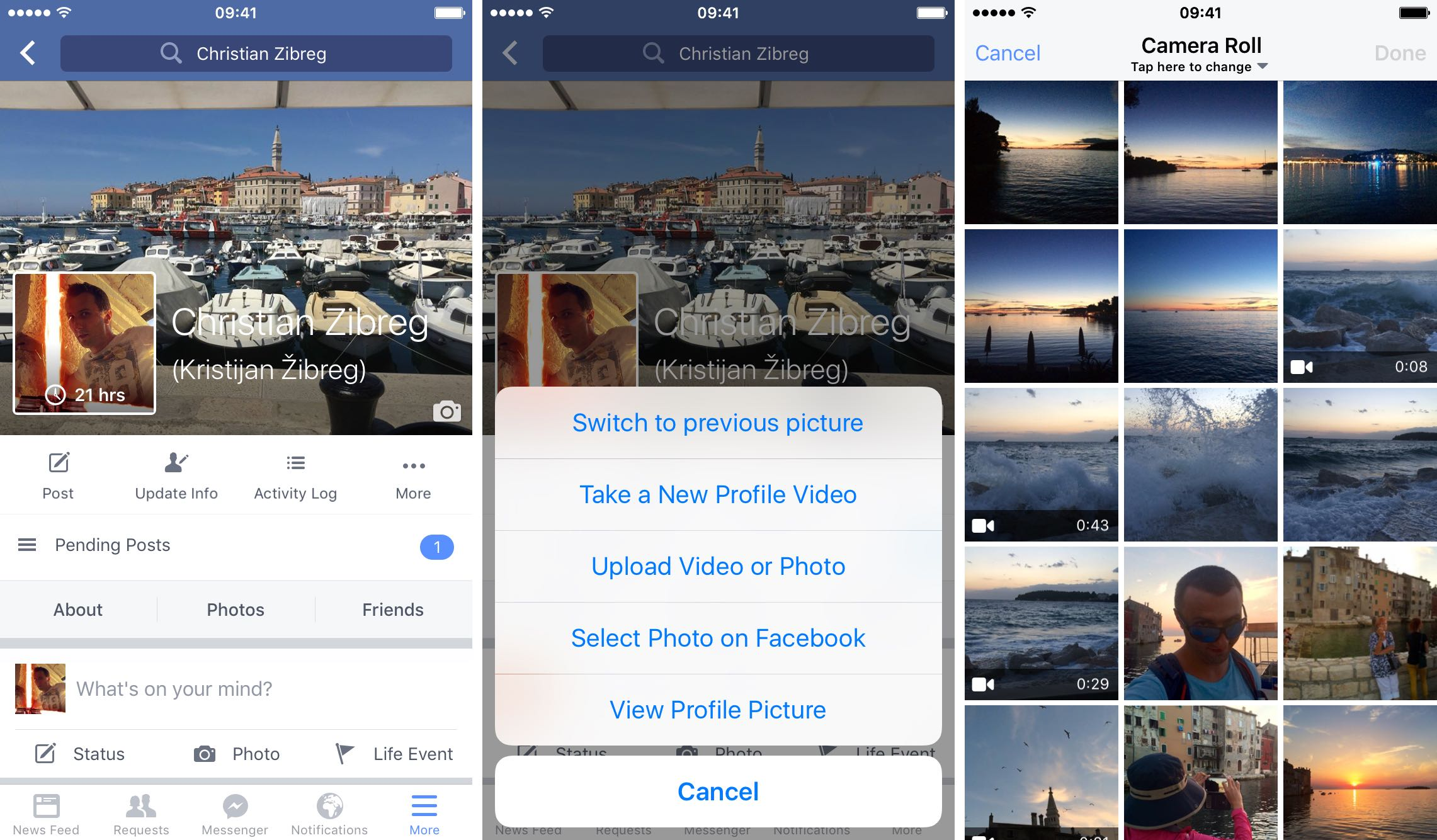 How to make Facebook profile video iPhone screenshot 001