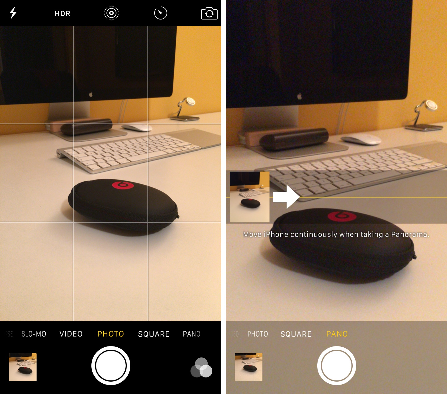 How to switch direction Panorama mode iPhone screenshot 001
