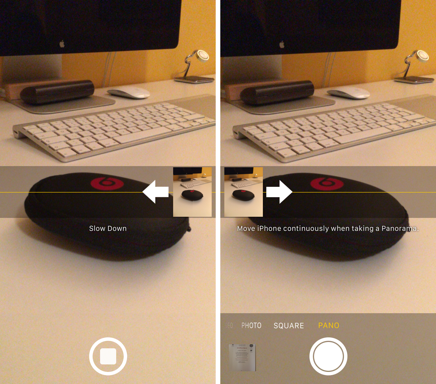 How to switch direction Panorama mode iPhone screenshot 002