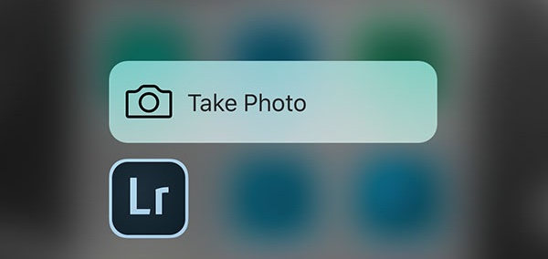 Lightroom 2.1 for iOS 3D Touch Home screen shortcut iPhone 6s screenshot 001