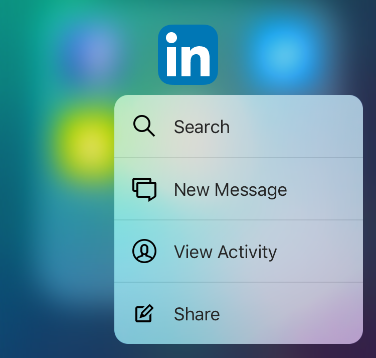 LinkedIn 9.0 for iOS 3D Touch Home screen shortcuts iPhone 6s screenshot 001