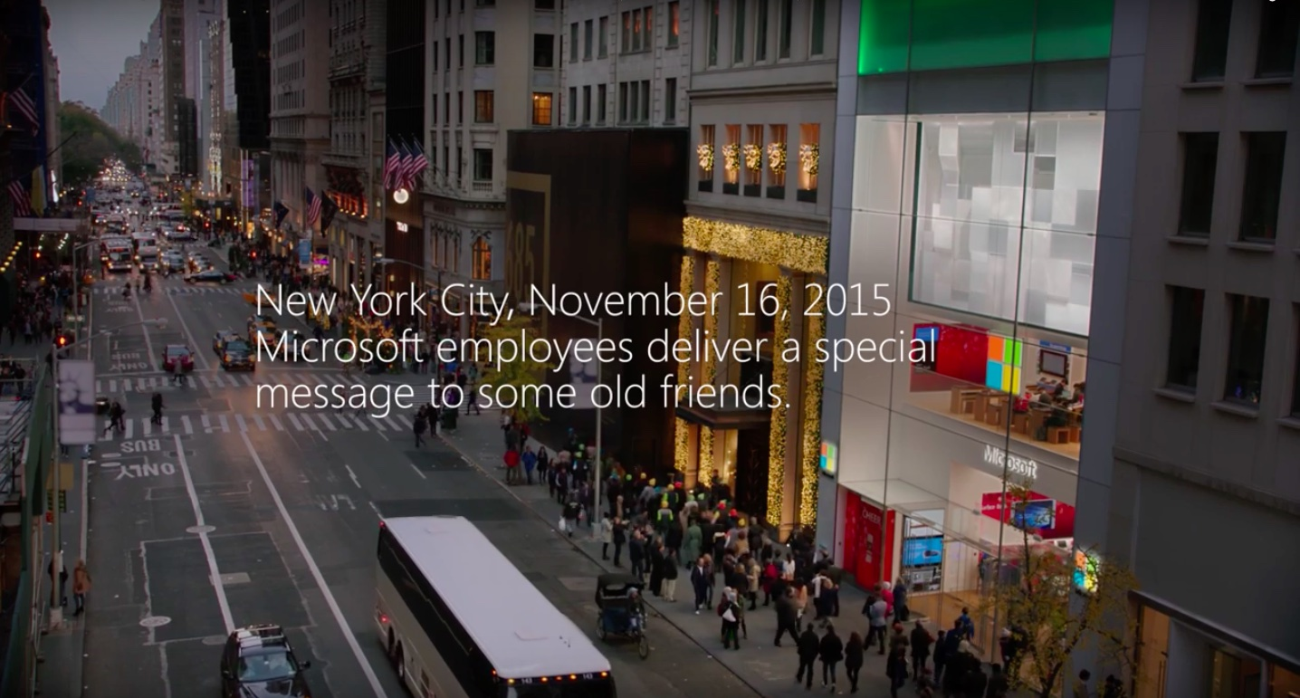 microsoft store employees make a peace offering to their apple store
