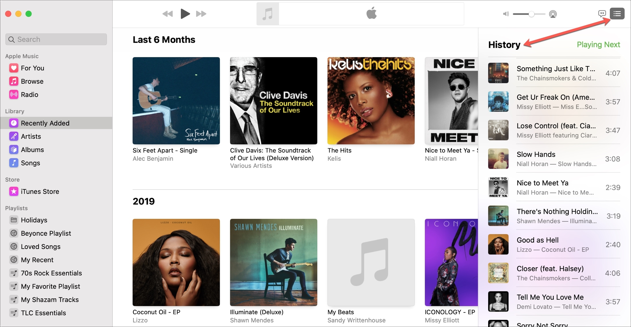 Music Mac Recently Played History