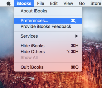 OS X El Capitan iBooks menu Preferences Mac screenshot 003