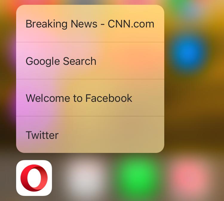 Opera Coast 5.0 for iOS 3D Home screen shortcuts iPhone 6s screenshot 001
