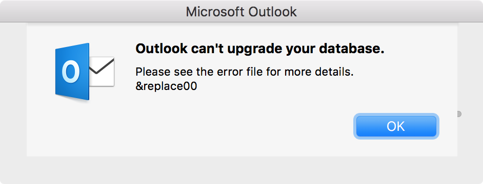 Outlook can't upgrade your database