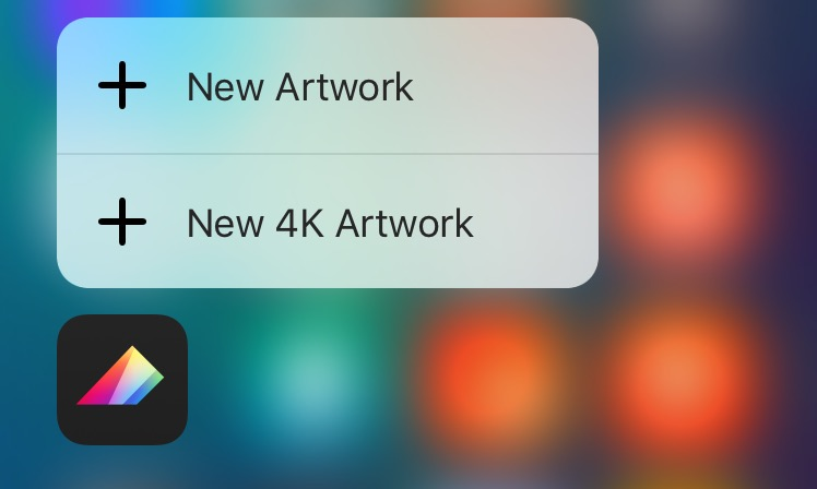 Proreate Pocket 1.6 for iOS 3D Touch Home screen shortcuts iPhone 6s screenshot 001