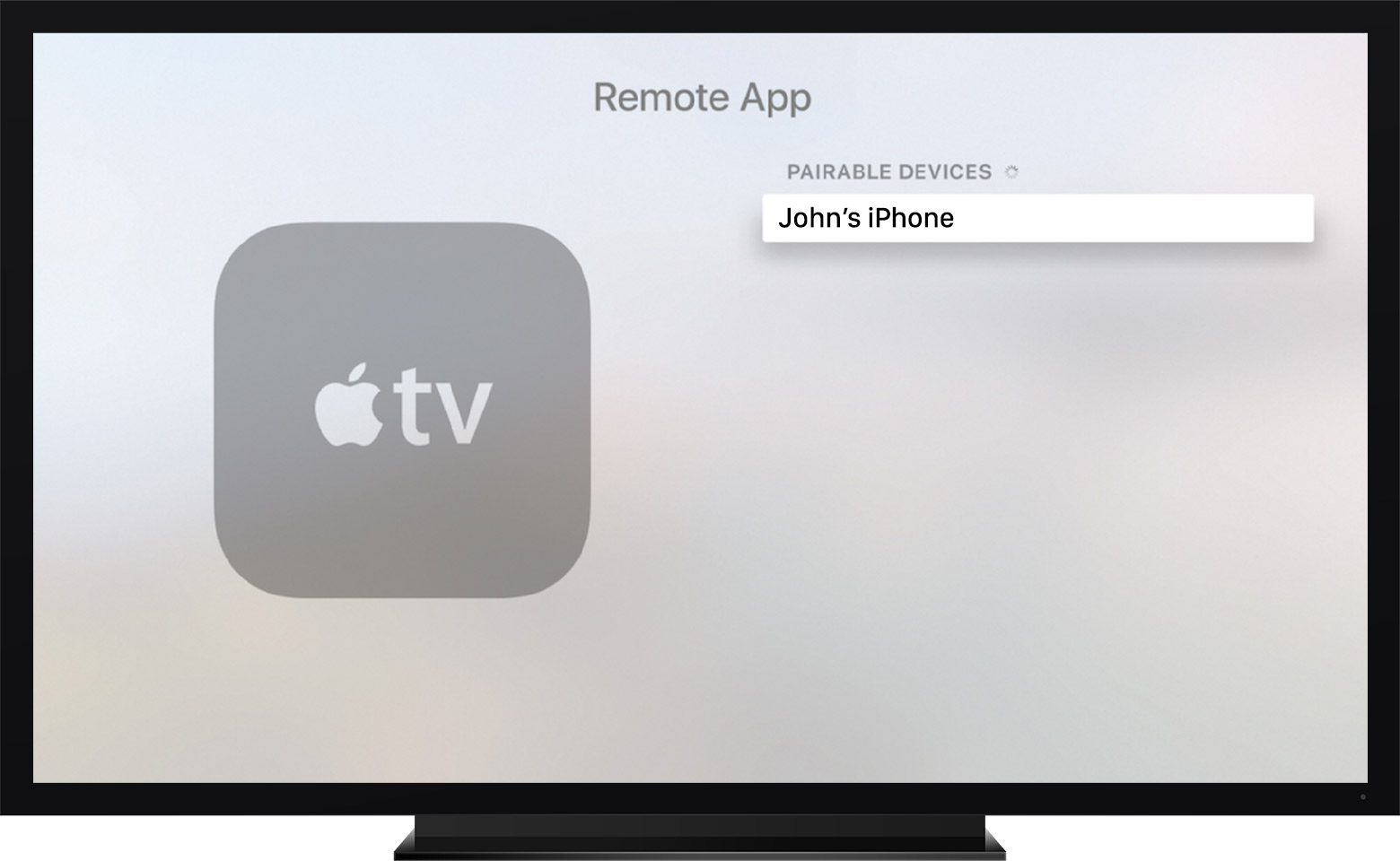 Remote app pairing Apple TV fourth-generation tvOS screenshot 001