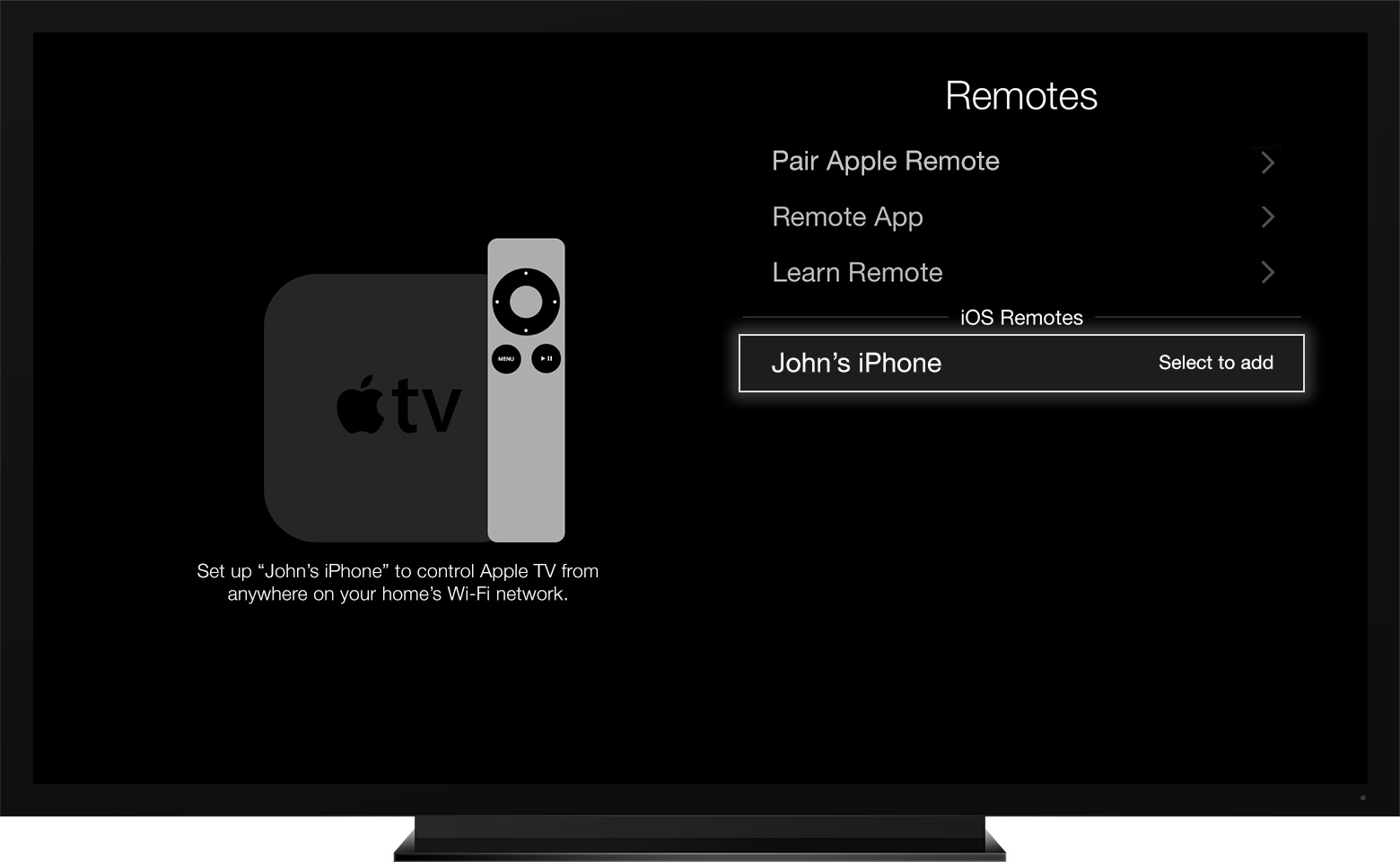 Remote app pairing Apple TV third-generation screenshot 001