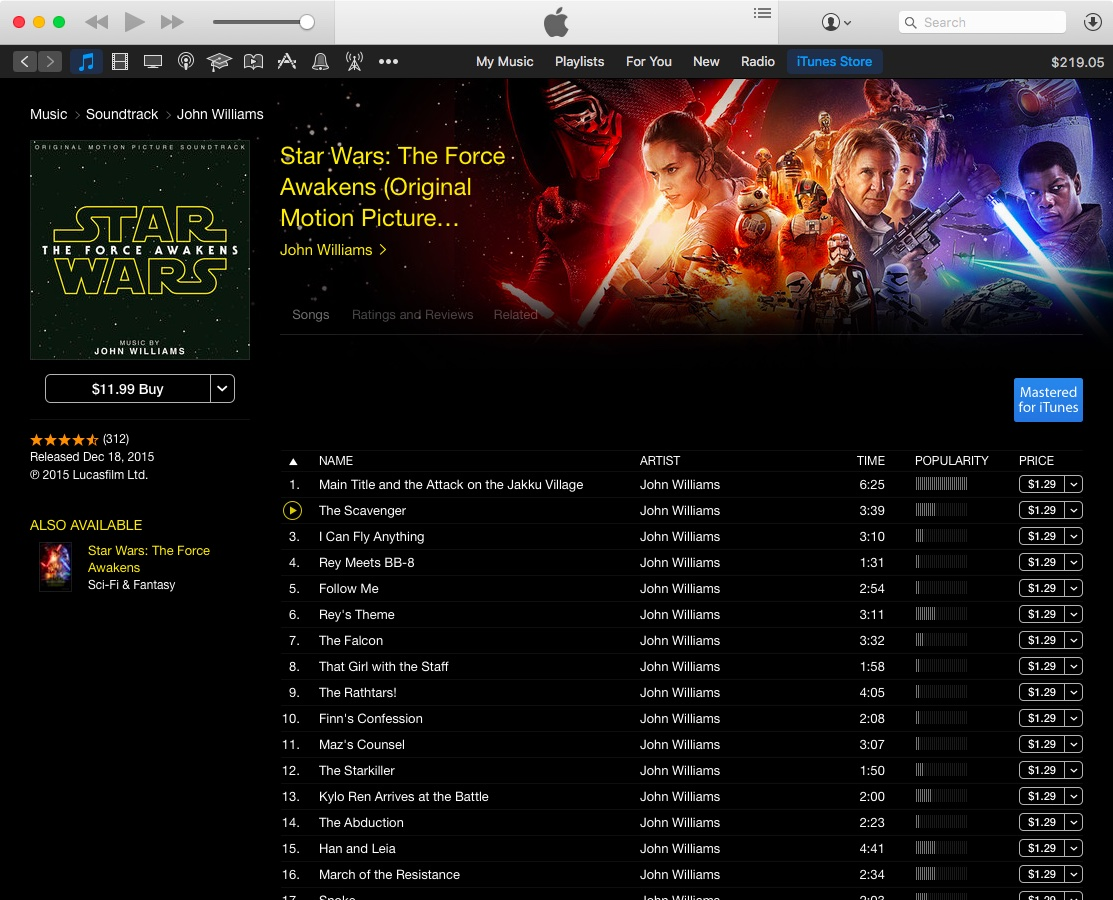 Star Wars Force Awakens soundtrack on iTunes