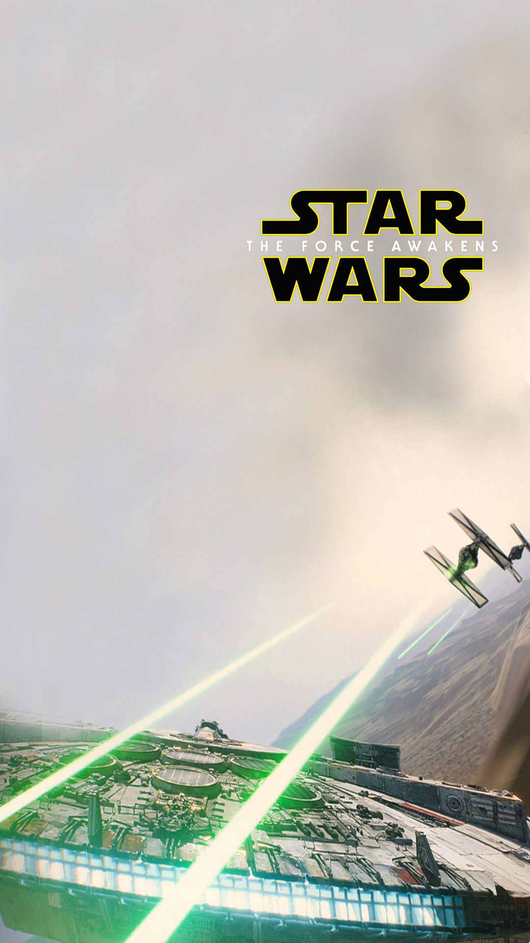 Star Wars The Force Awakens Wallpaper Millennium Falcon Tie Attack
