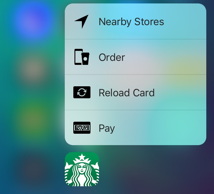 Starbucks 3.3.4 for iOS 3D Touch Home screen shortcuts iPhone 6s screenshot 001