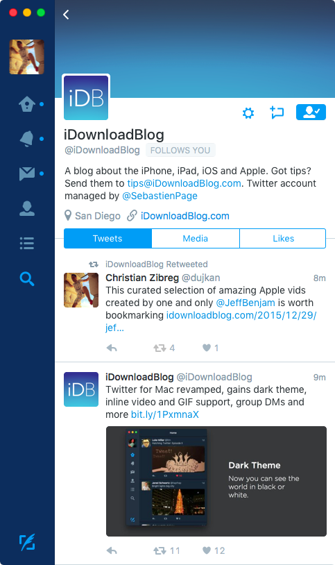 Twitter 4.0 for OS X Mac screenshot 006