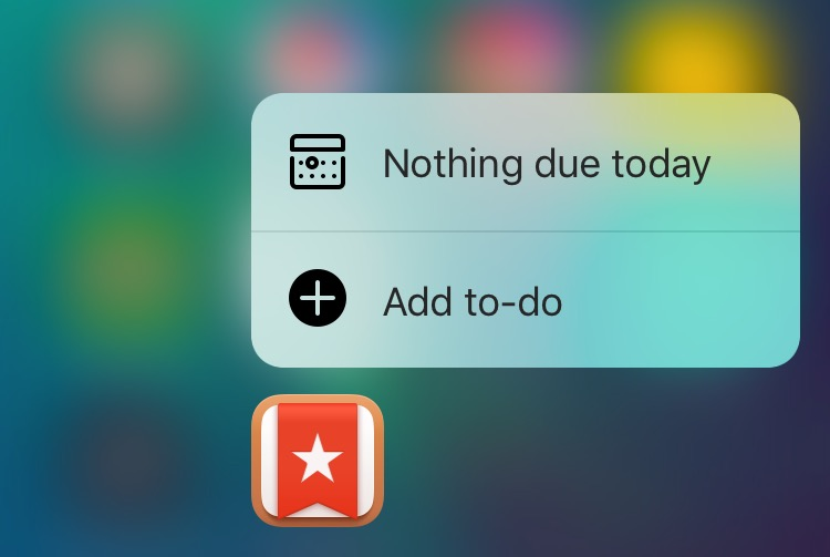 Wunderlist 3.4 for iOS 3D Touch Home screen shortcuts iPhone 6s screenshot 001