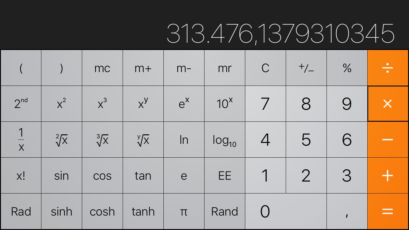 iOS 9 Calculator landscape iPhone screenshot 001