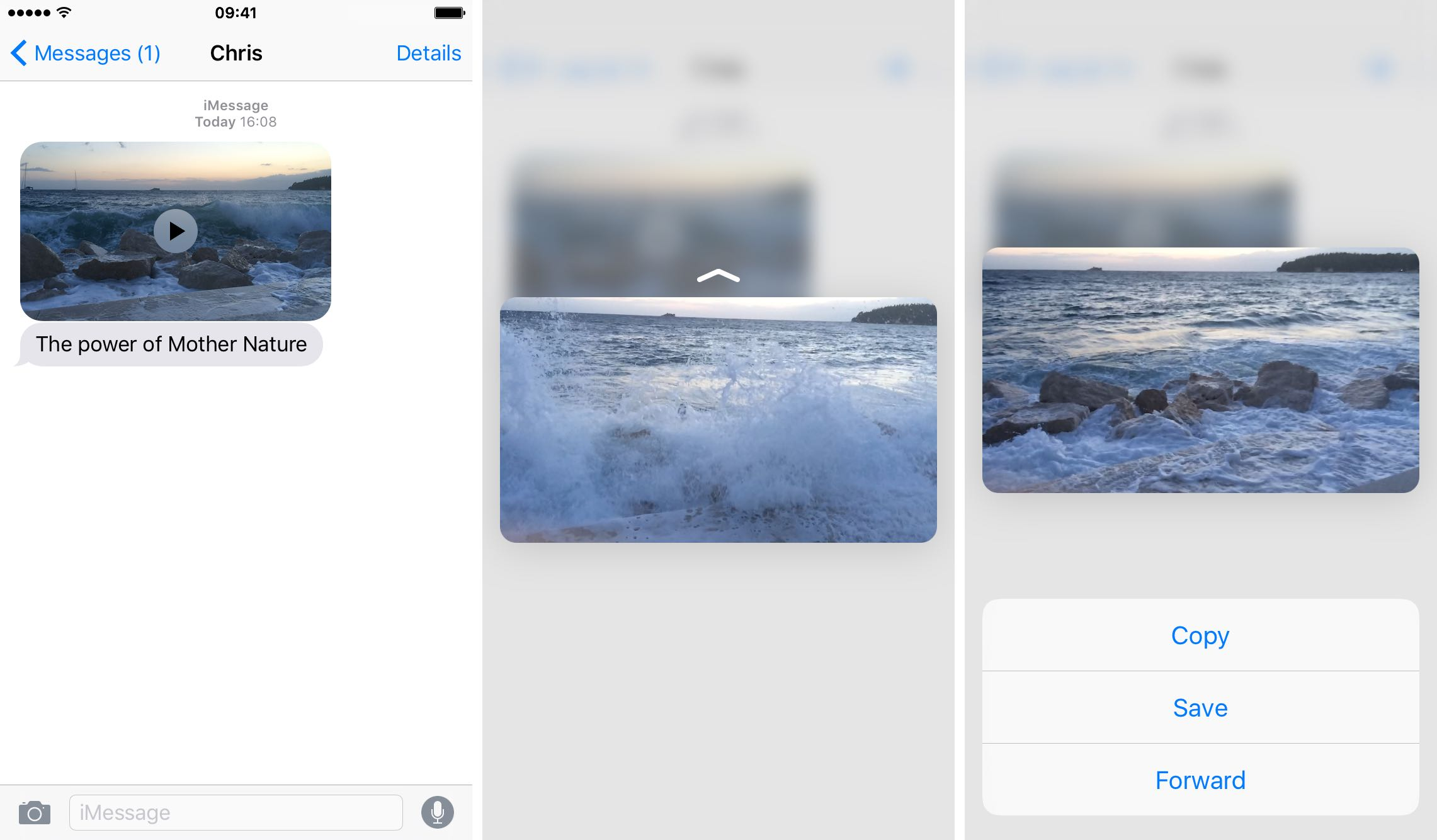 iOS 9 Messages 3D Touch iPHone 6s screenshot 004