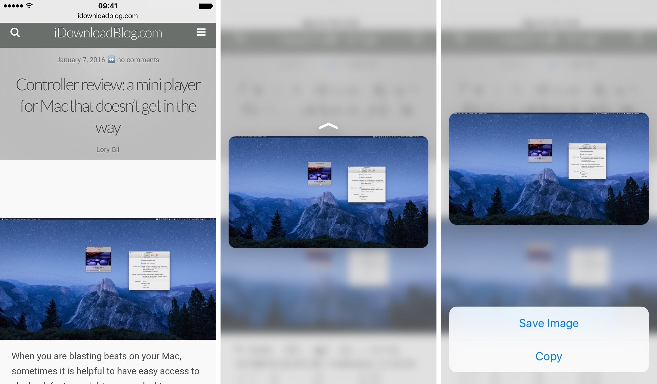 3D Touch Safari preview images iPhone 6s screenshot
