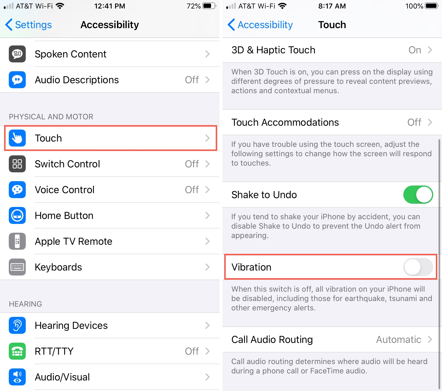 Accessibility Touch Vibration