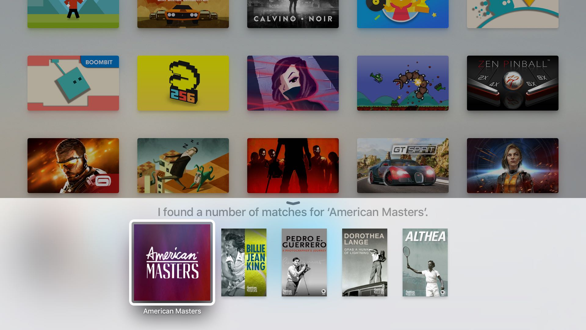 Apple TV 4 search PBS Kids tvOS screenshot 001