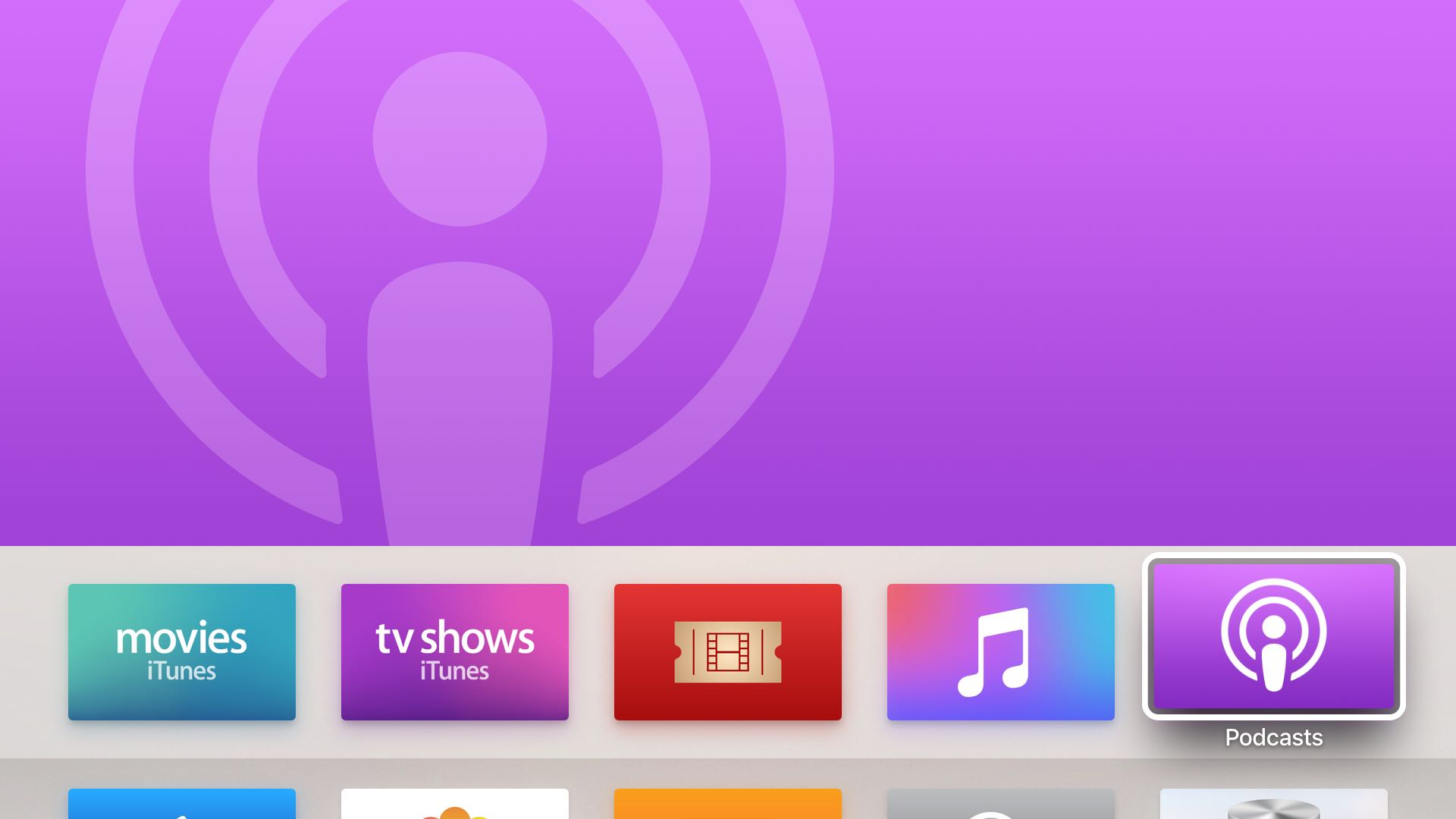 Aplicación Apple TV Podcasts tvOS