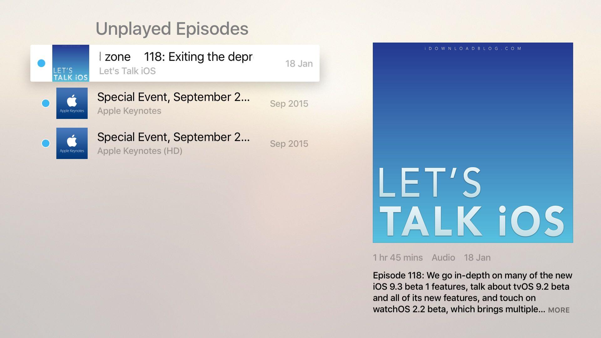 Apple TV Podcasts app tvOS screenshot 002