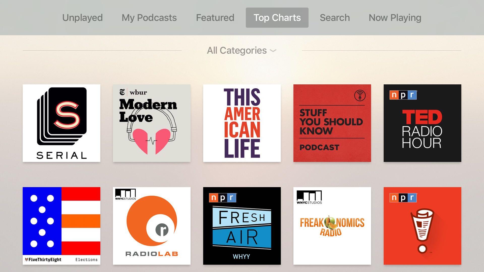 Apple TV Podcasts app tvOS screenshot 006