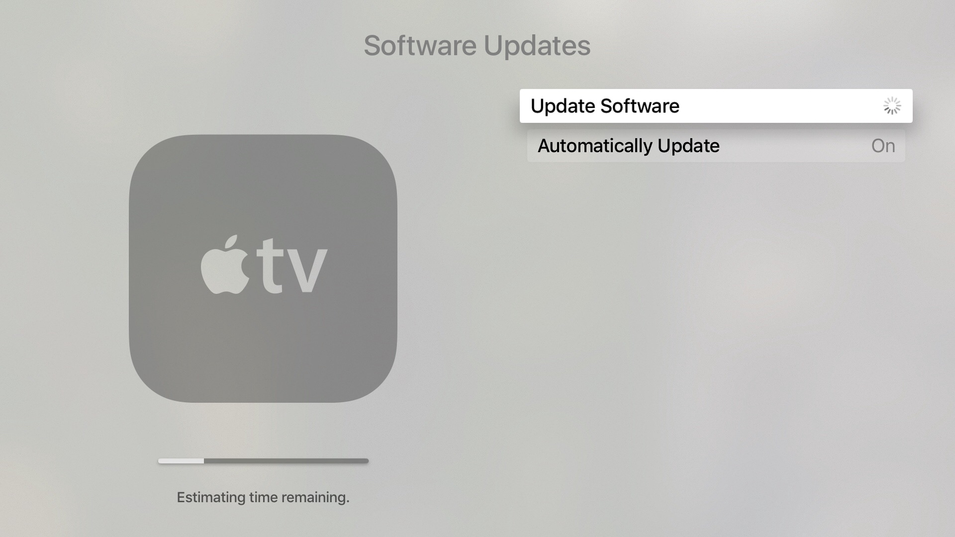 Apple TV Software Update Downloading beta