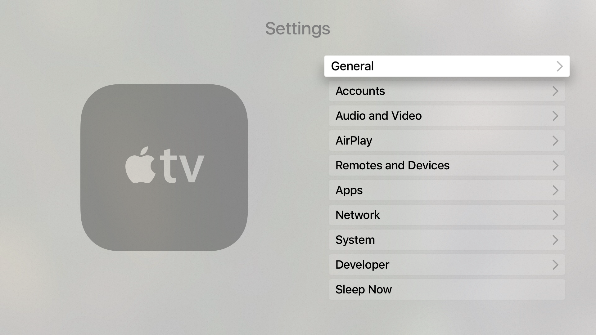 Apple TV advanced Settings General