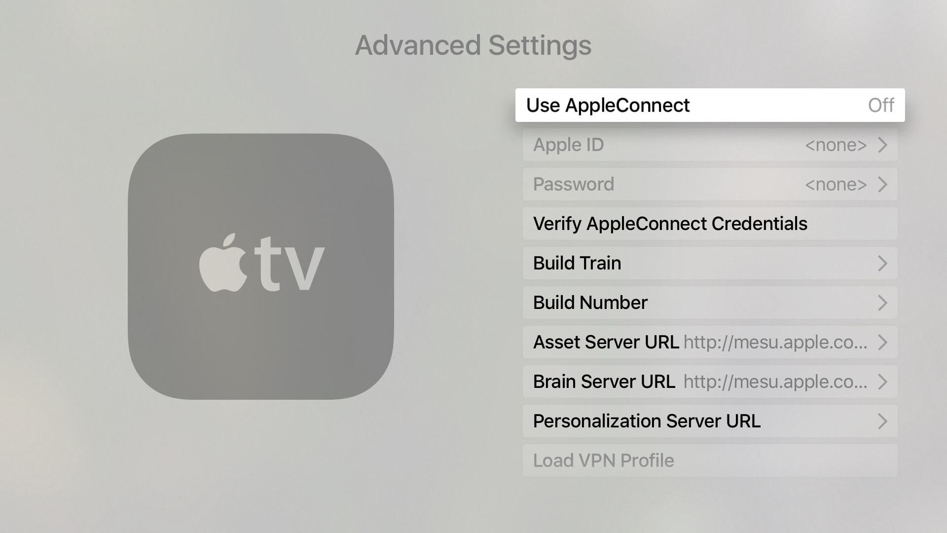 Apple TV advanced Settings Menu