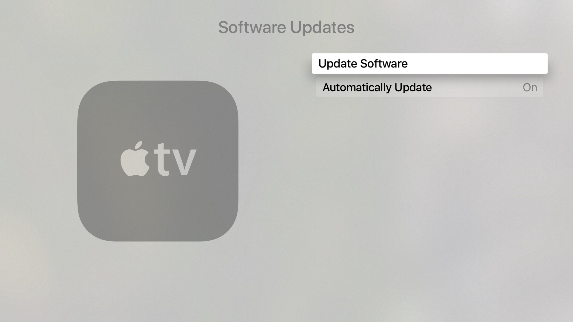 Apple TV advanced Settings Software Updates