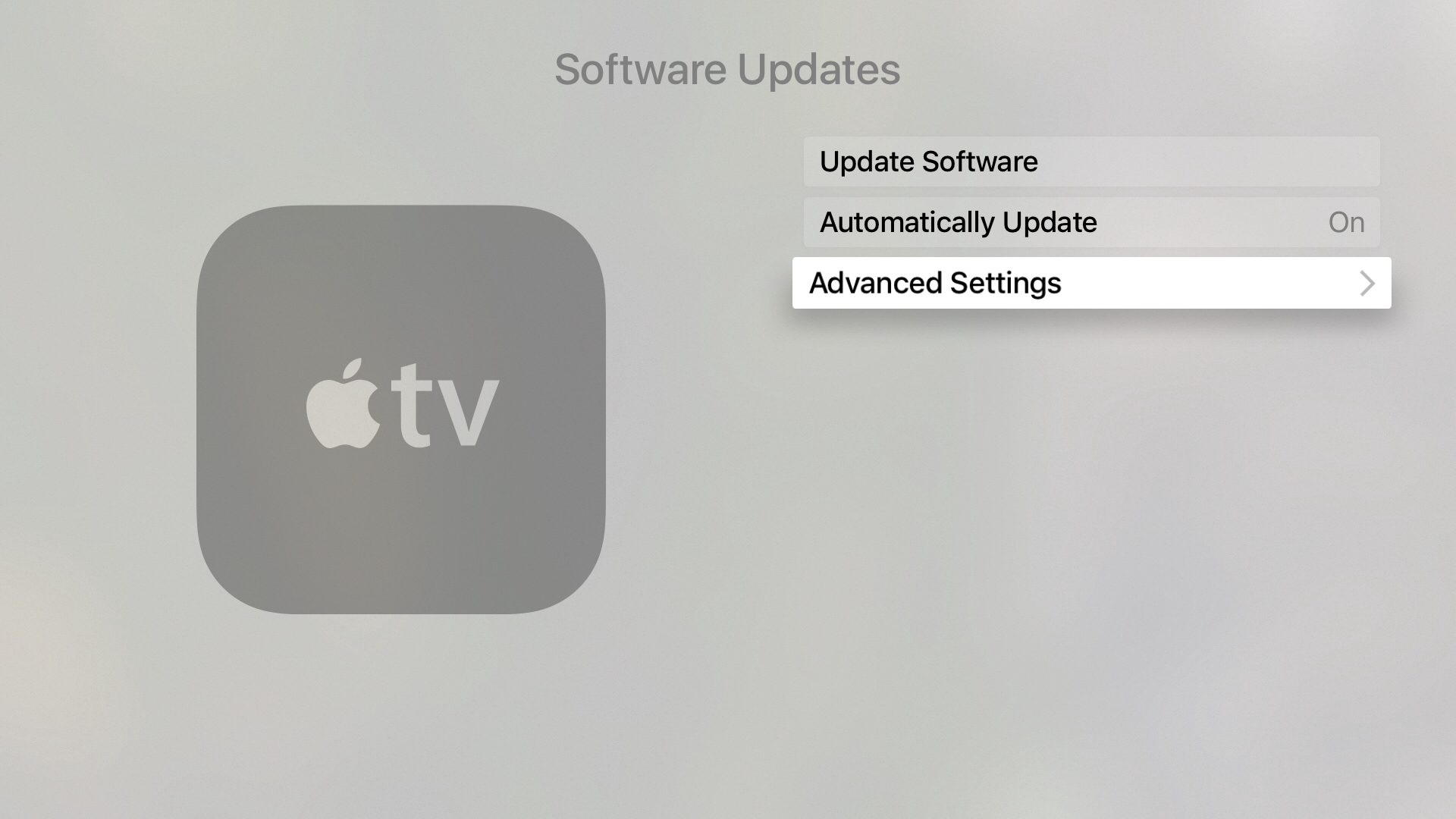 Apple TV advanced Settings