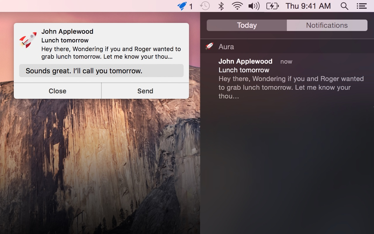 Aura 1.3 for OS X instant replies Mac screenshot 002