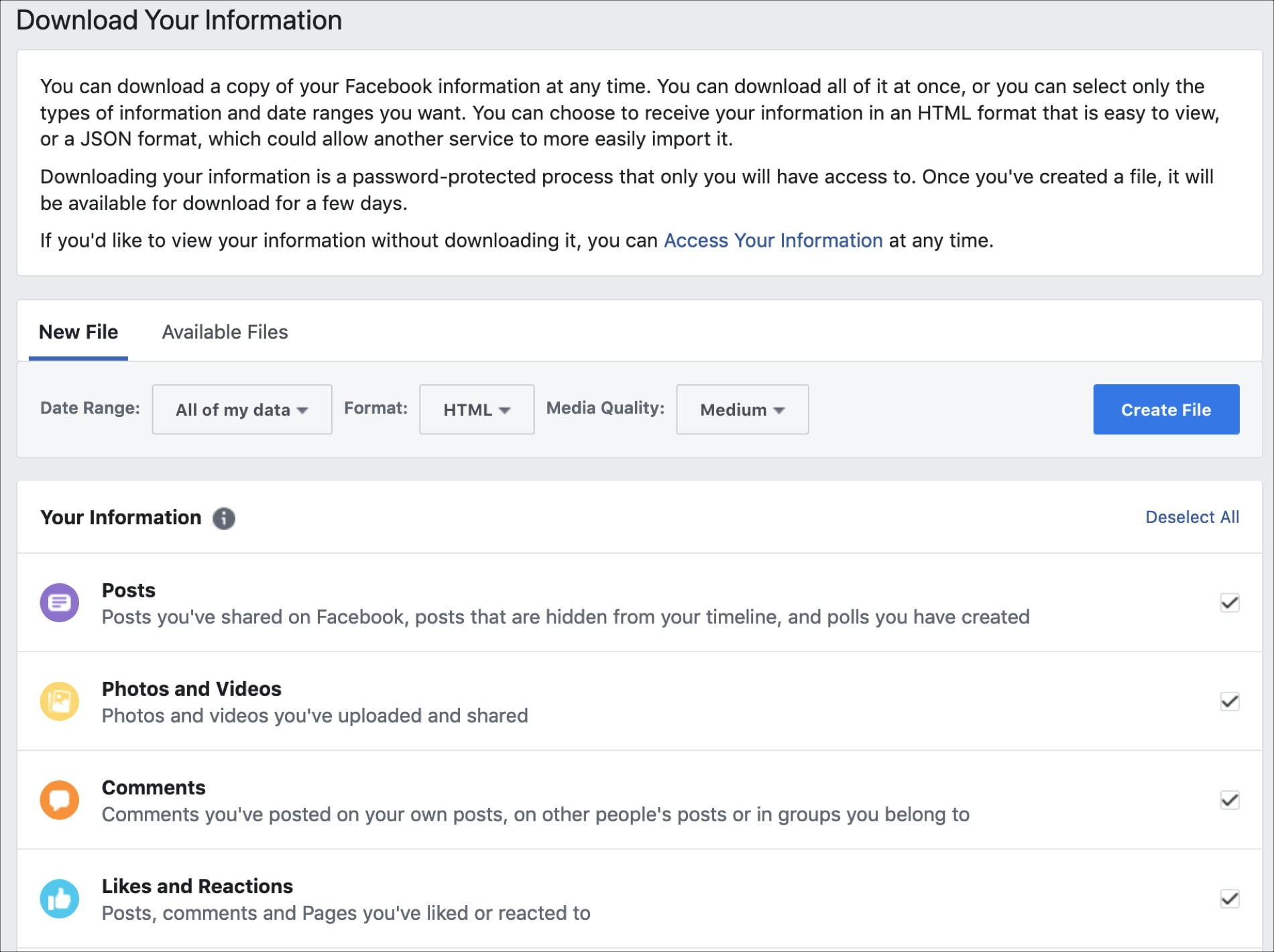Decide What to Download Your Information Facebook Web