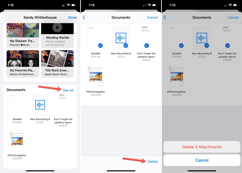 Delete Bulk Attachments on iPhone