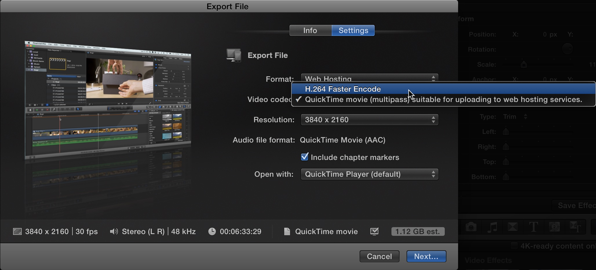 Export File FCP X