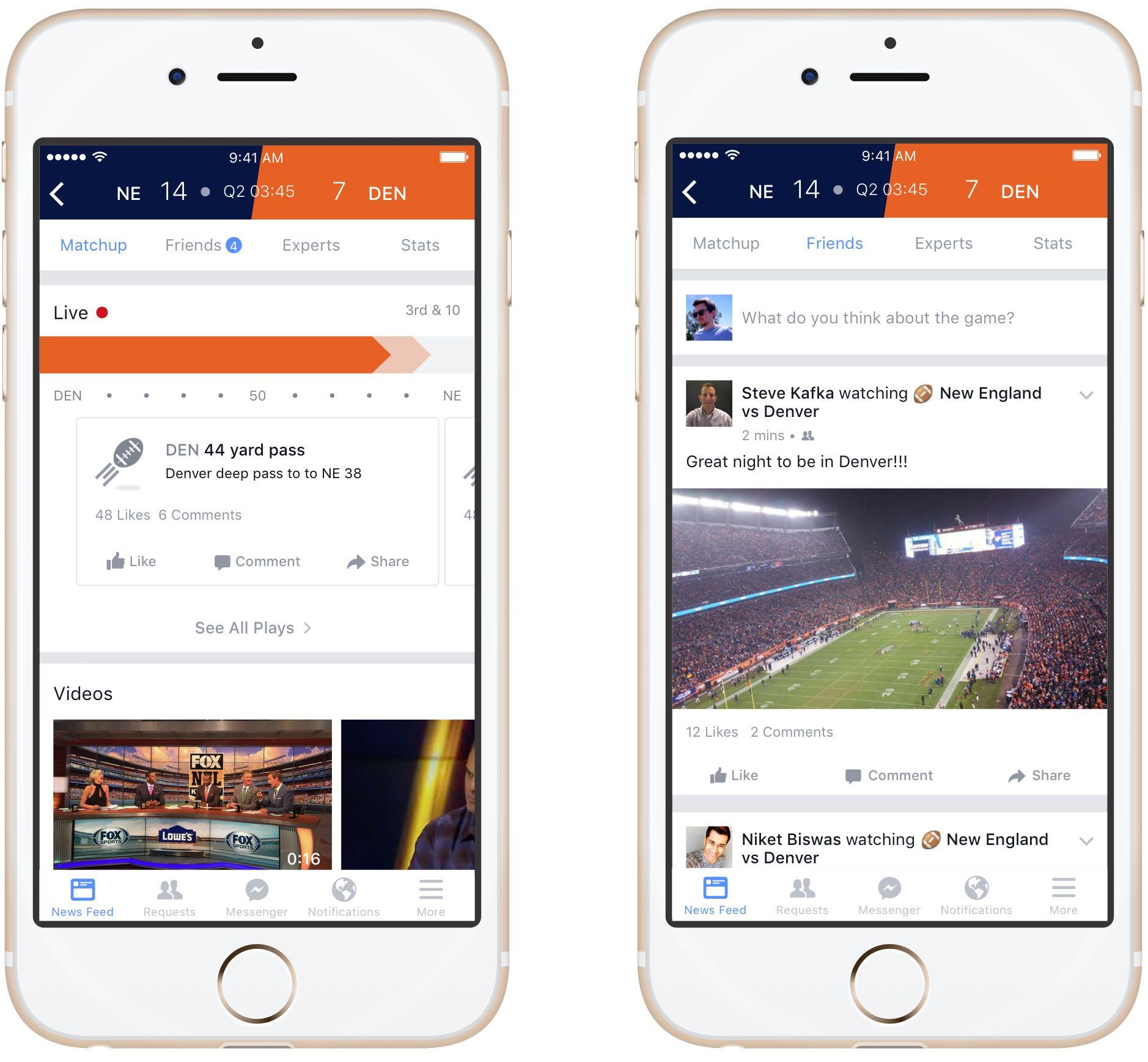 Facebook sports section iPhone screenshot 001