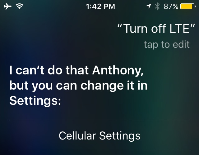 siri cant turn off LTE