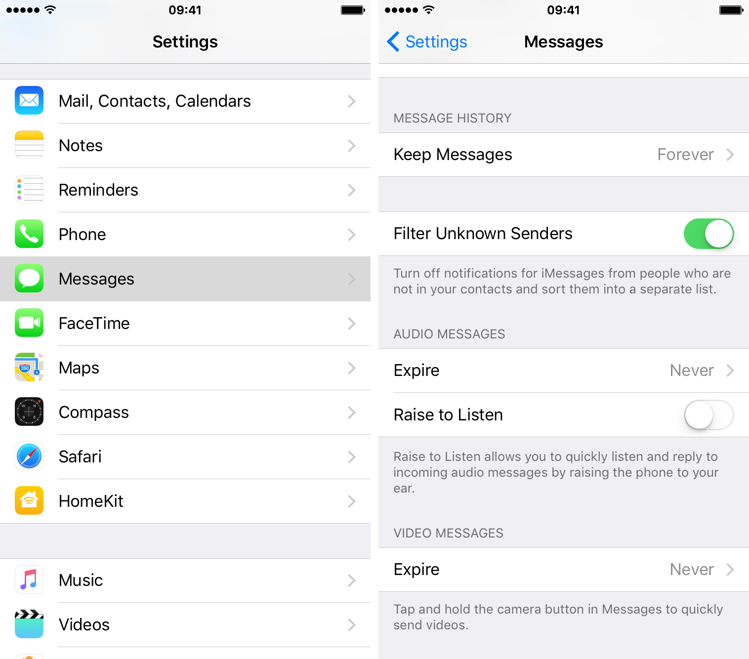 Disable audio recording in Messages iPhone