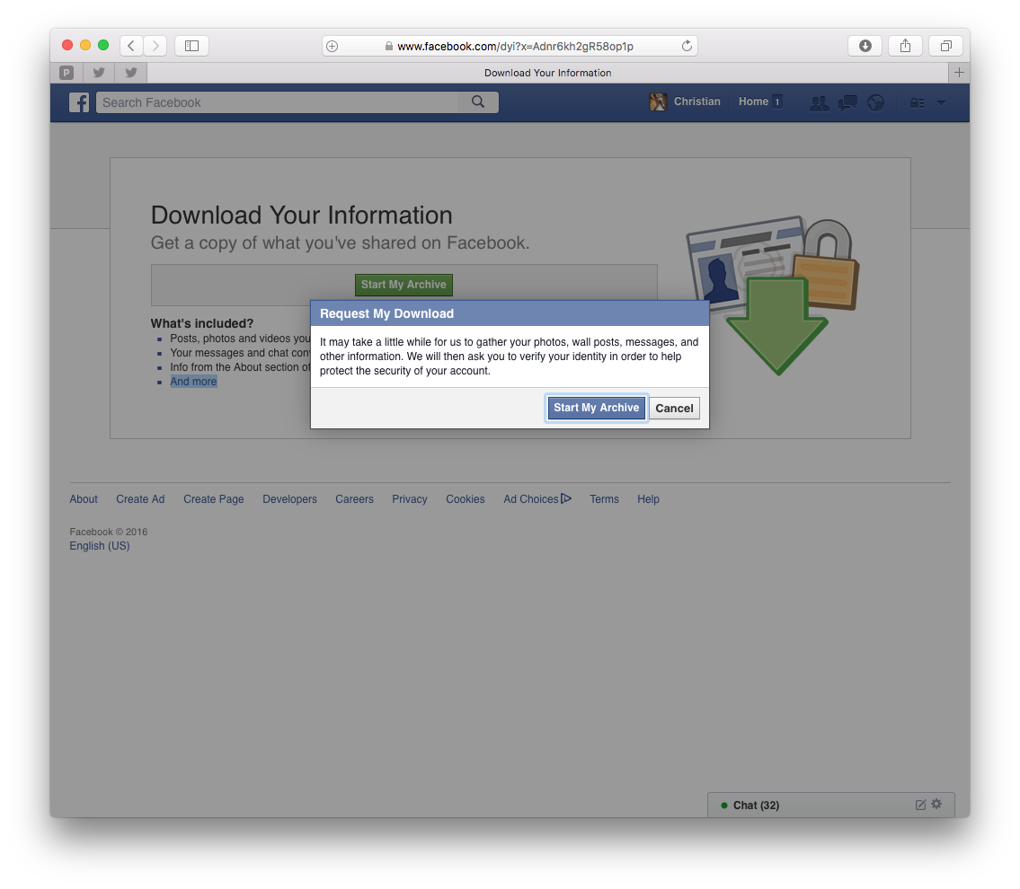 Request Facebook archive download