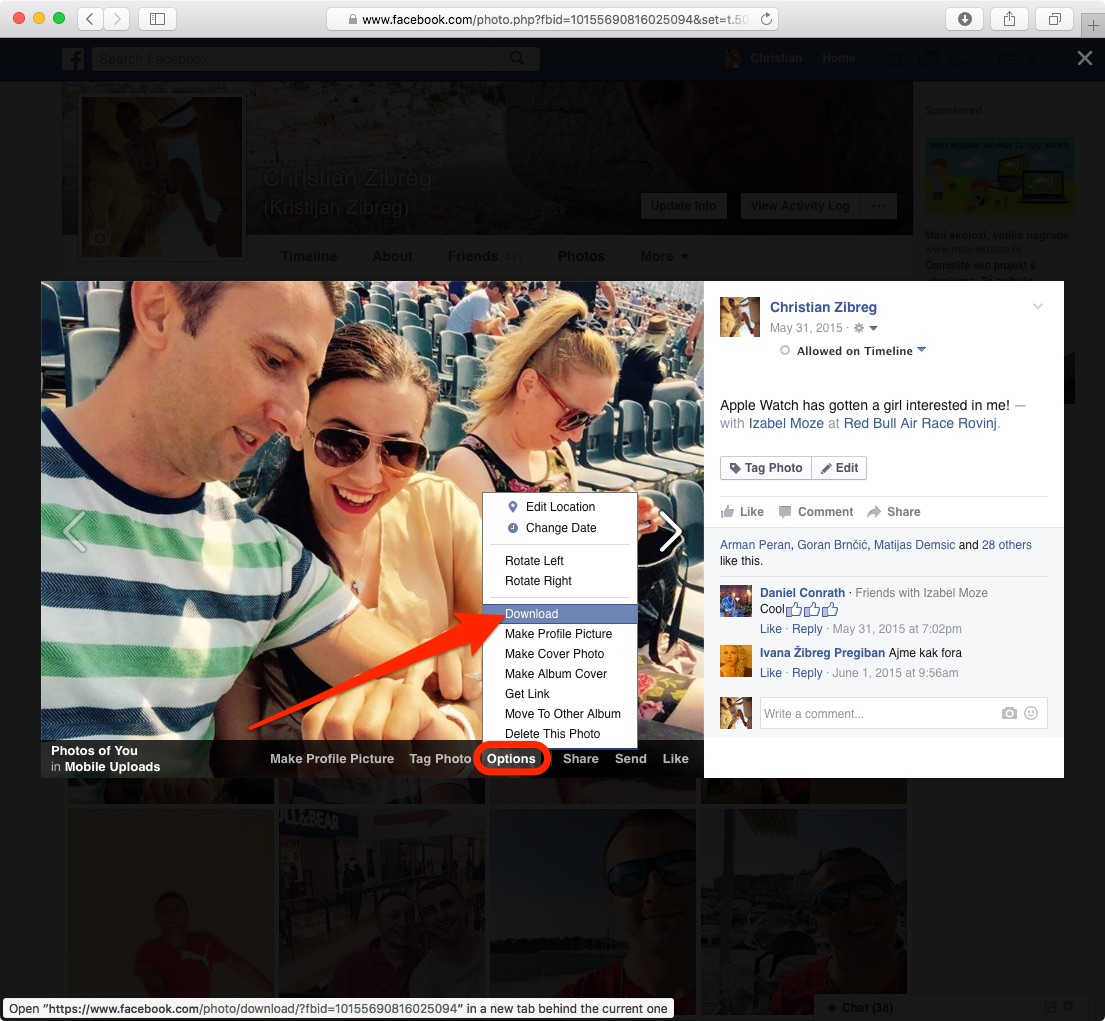 Download your Facebook photo from web browser