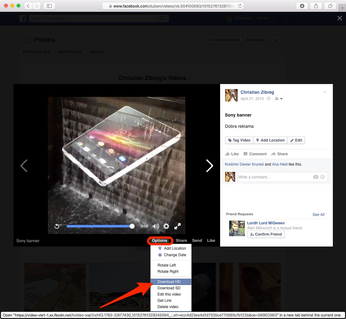 Save Facebook video from web browser