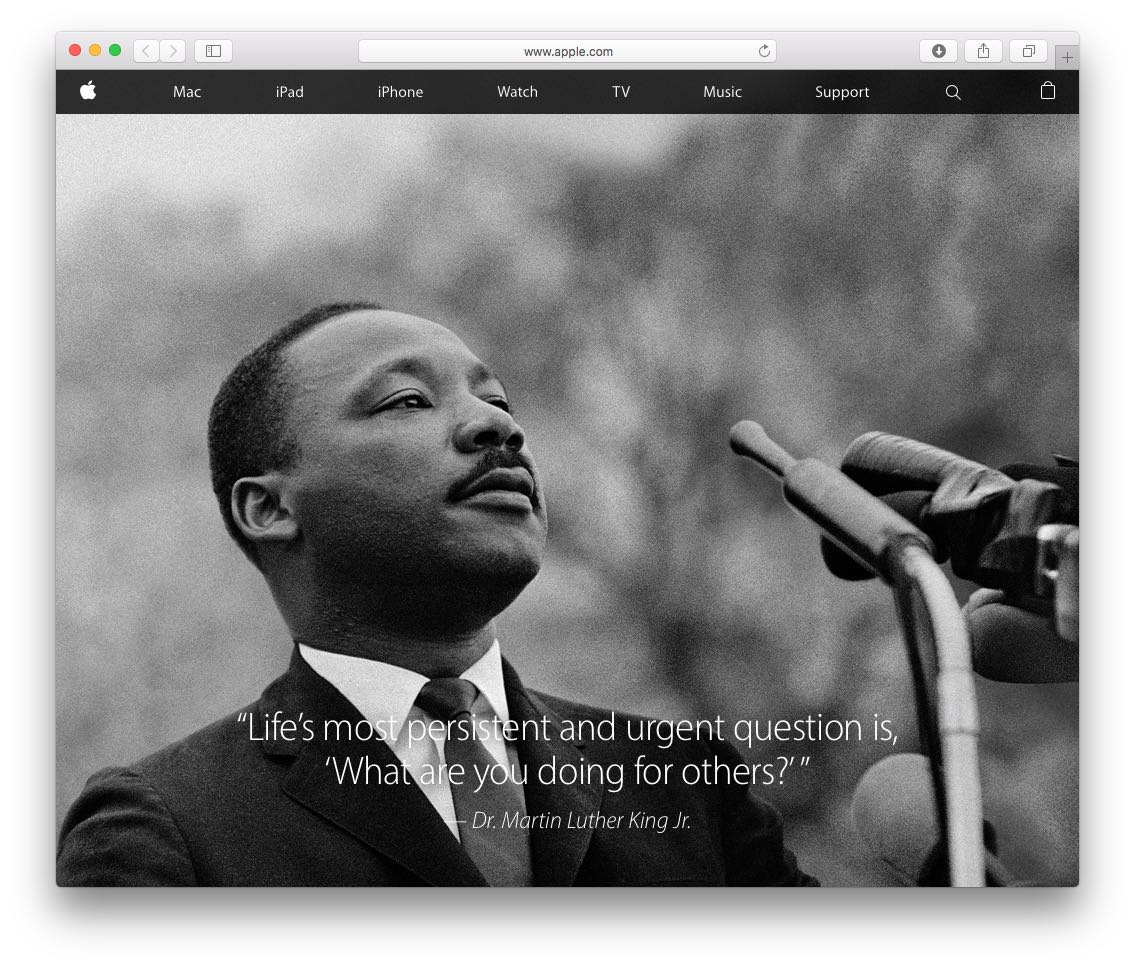 Apple Honors Dr Martin Luther King Jr Day With Home Page Tribute