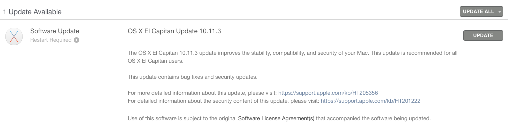 OS X 10.11.3 Mac App Store updated prompt
