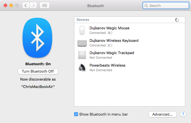 OS X El Capitan Bluetooth Mac captura de pantalla 001