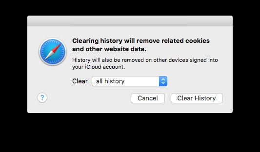 delete safari history on Mac