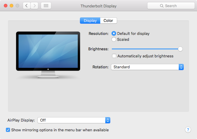OS X El Capitan System Preferences Displays automatic brightness Mac screenshot 001