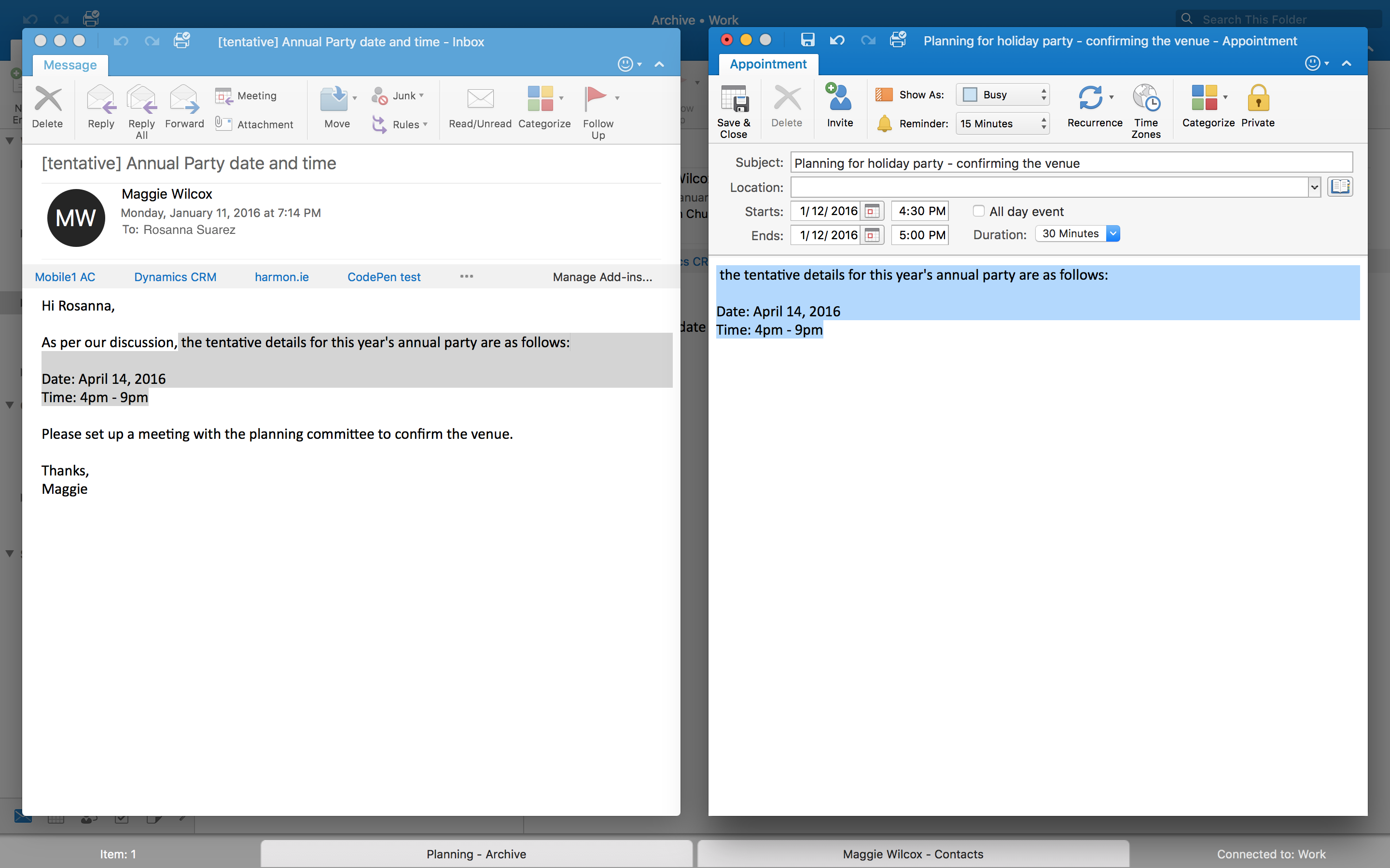 Outlook for Mac Split View OS X screenshot 001